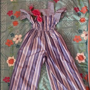 Stripe and embroidered size 7 jumpsuit